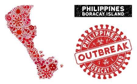 Infectious collage Boracay Island map and red grunge stamp seal with OUTBREAK message. Boracay Island map collage formed with randomized pathogen symbols.