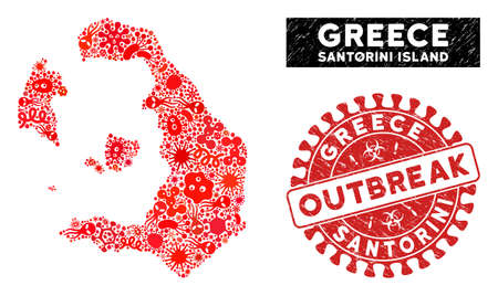 Outbreak collage Santorini Island map and red rubber stamp seal with OUTBREAK words. Santorini Island map collage designed with randomized microorganism items.