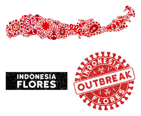 Contagion collage Flores Island of Indonesia map and red corroded stamp watermark with OUTBREAK badge. Flores Island of Indonesia map collage designed with scattered pathogen icons.