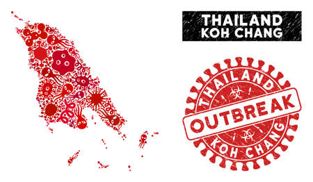 Viral collage Koh Chang map and red grunge stamp seal with OUTBREAK text. Koh Chang map collage created with randomized pathogen elements. Red round OUTBREAK seal stamp with distress texture.