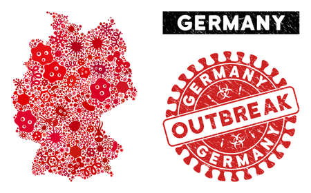 Outbreak collage Germany map and red distressed stamp seal with OUTBREAK caption. Germany map collage designed with scattered contagion symbols. Red round OUTBREAK seal with scratched texture. Illustration