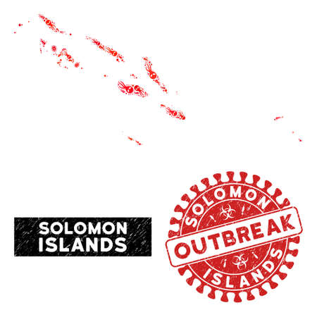 Infection collage Solomon Islands map and red rubber stamp watermark with OUTBREAK phrase. Solomon Islands map collage created with scattered infection icons. Illustration