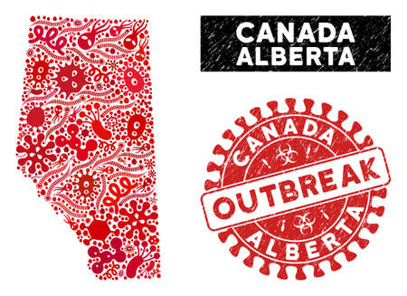 Biohazard collage Alberta Province map and red grunge stamp seal with OUTBREAK words. Alberta Province map collage composed with scattered microbe icons. Illustration