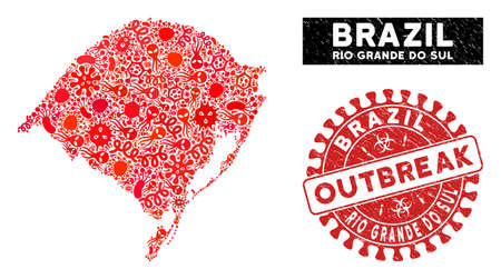 Viral collage Rio Grande do Sul State map and red grunge stamp seal with OUTBREAK badge. Rio Grande do Sul State map collage formed with randomized contagion elements.