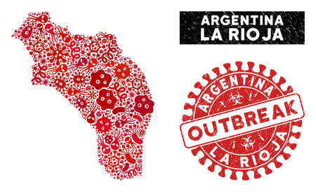 Contagious collage La Rioja of Argentina map and red corroded stamp seal with OUTBREAK badge. La Rioja of Argentina map collage constructed with randomized epidemic items.
