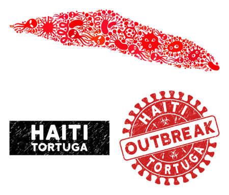 Infectious collage Tortuga Island of Haiti map and red rubber stamp watermark with OUTBREAK phrase. Tortuga Island of Haiti map collage composed with random pandemic symbols.