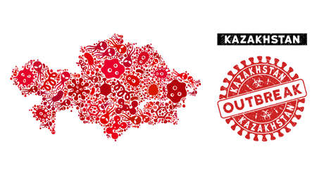 Contagion collage Kazakhstan map and red distressed stamp watermark with OUTBREAK text. Kazakhstan map collage designed with randomized infection icons.