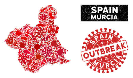 Infection mosaic Murcia Province map and red rubber stamp watermark with OUTBREAK phrase. Murcia Province map collage created with scattered contagious icons.