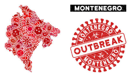 Contagion collage Montenegro map and red corroded stamp seal with OUTBREAK caption. Montenegro map collage composed with scattered contagious elements. Illustration