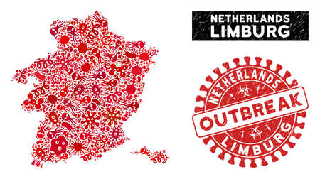 Contagion collage Limburg Province map and red rubber stamp seal with OUTBREAK caption. Limburg Province map collage created with random viral elements. Red round OUTBREAK seal with dirty texture.
