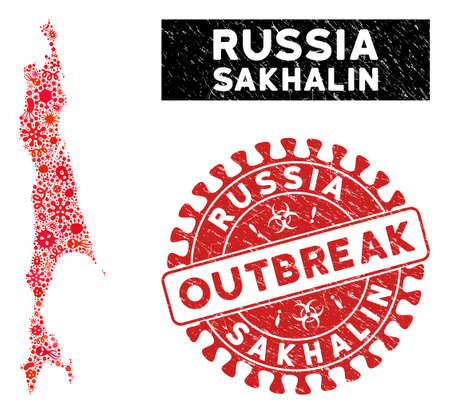 Contagion collage Sakhalin Island map and red grunge stamp seal with OUTBREAK phrase. Sakhalin Island map collage formed with scattered infection items. Illustration