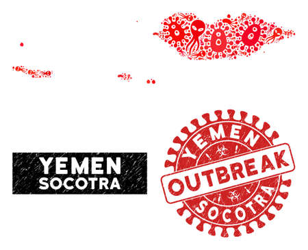 Pandemic collage Socotra Archipelago map and red rubber stamp seal with OUTBREAK message. Socotra Archipelago map collage composed with scattered pandemic icons. Çizim