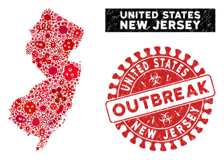 Viral collage New Jersey State map and red corroded stamp seal with OUTBREAK text. New Jersey State map collage composed with randomized amoeba icons.