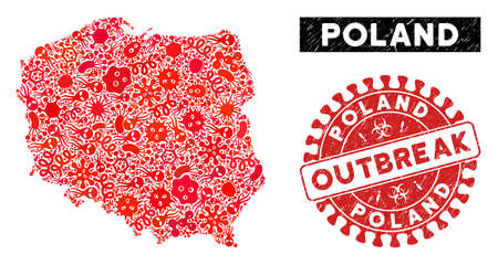 Outbreak collage Poland map and red distressed stamp seal with OUTBREAK phrase. Poland map collage composed with random amoeba icons. Red rounded OUTBREAK seal stamp with dirty texture.