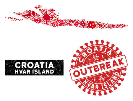 Epidemic collage Hvar Island map and red distressed stamp seal with OUTBREAK phrase. Hvar Island map collage created with random microorganism symbols. Illustration