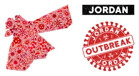 Outbreak collage Jordan map and red rubber stamp seal with OUTBREAK message. Jordan map collage constructed with scattered amoeba icons. Red round OUTBREAK seal stamp with distress texture.