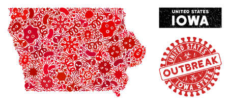 Contagion collage Iowa State map and red corroded stamp seal with OUTBREAK text. Iowa State map collage formed with randomized virus icons. Red rounded OUTBREAK seal stamp with dirty texture.
