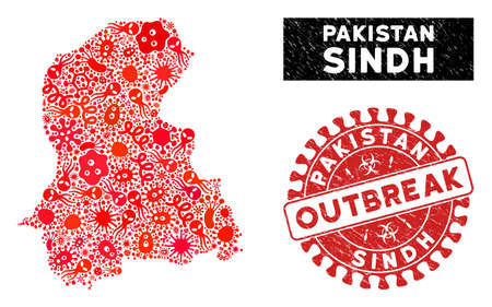 Epidemic collage Sindh Province map and red corroded stamp seal with OUTBREAK caption. Sindh Province map collage created with randomized microbe cell items.