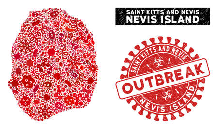 Virus collage Nevis Island map and red distressed stamp seal with OUTBREAK message. Nevis Island map collage constructed with randomized virus elements. Red rounded OUTBREAK stamp with grunge texture.