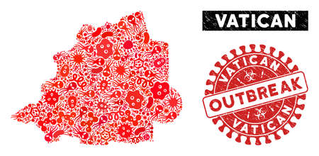 Virus collage Vatican map and red distressed stamp seal with OUTBREAK words. Vatican map collage created with random bacterium symbols. Red rounded OUTBREAK seal stamp with grunge texture. Illustration