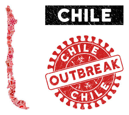 Infected collage Chile map and red grunge stamp watermark with OUTBREAK phrase. Chile map collage constructed with randomized virus items. Red rounded OUTBREAK seal stamp with grunge texture.