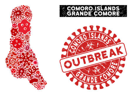 Outbreak collage Grande Comore Island map and red corroded stamp watermark with OUTBREAK phrase. Grande Comore Island map collage composed with randomized bacterium elements.