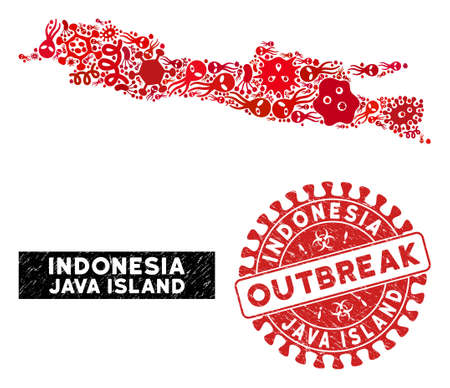 Outbreak mosaic Java Island map and red corroded stamp watermark with OUTBREAK badge. Java Island map collage constructed with randomized bacterium elements.