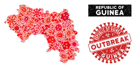 Microbe collage Republic of Guinea map and red distressed stamp watermark with OUTBREAK caption. Republic of Guinea map collage composed with scattered microbe cell items.