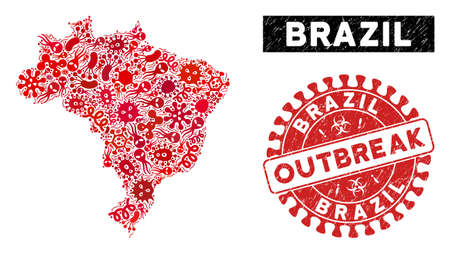 Infection collage Brazil map and red distressed stamp watermark with OUTBREAK message. Brazil map collage designed with random infection elements. Red rounded OUTBREAK watermark with grunge texture. Illustration