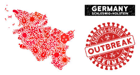 Epidemic collage Schleswig-Holstein Land map and red distressed stamp seal with OUTBREAK phrase. Schleswig-Holstein Land map collage formed with randomized microbe cell icons.