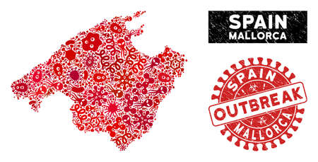 Outbreak mosaic Mallorca map and red rubber stamp watermark with OUTBREAK badge. Mallorca map collage formed with scattered contagion symbols. Red rounded OUTBREAK seal stamp with scratched texture.