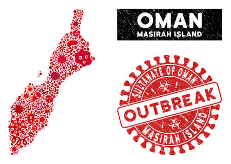 Infected collage Masirah Island map and red grunge stamp watermark with OUTBREAK message. Masirah Island map collage created with scattered microbe cell items.