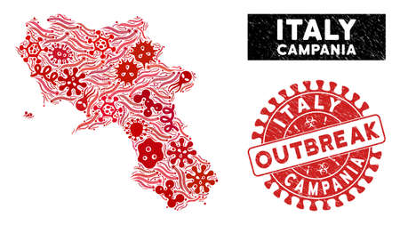 Microbe collage Campania region map and red distressed stamp seal with OUTBREAK badge. Campania region map collage composed with scattered microorganism icons.