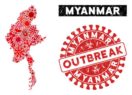 Infection collage Myanmar map and red grunge stamp watermark with OUTBREAK message. Myanmar map collage formed with scattered microbe symbols. Red rounded OUTBREAK watermark with dirty texture.