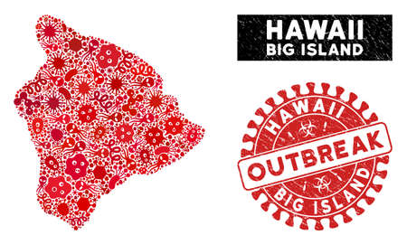 Pathogen collage Hawaii Big Island map and red distressed stamp watermark with OUTBREAK words. Hawaii Big Island map collage formed with randomized epidemic elements. Illustration