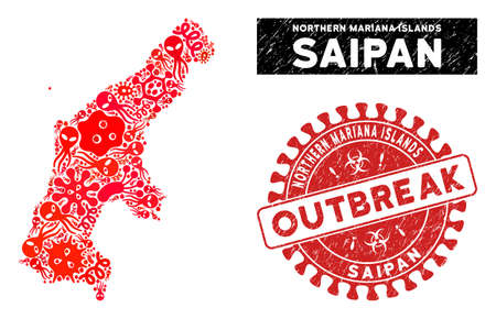Pathogen collage Saipan Island map and red distressed stamp seal with OUTBREAK words. Saipan Island map collage composed with scattered virus items. Red round OUTBREAK stamp with dirty texture.