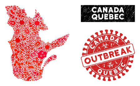 Pandemic collage Quebec Province map and red rubber stamp seal with OUTBREAK badge. Quebec Province map collage composed with scattered infectious symbols. Red round OUTBREAK stamp with dirty texture.