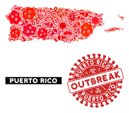 Fever collage Puerto Rico map and red grunge stamp watermark with OUTBREAK badge. Puerto Rico map collage formed with random virus symbols. Red rounded OUTBREAK seal stamp with grunge texture.