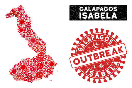 Pandemic collage Isabela Island of Galapagos map and red distressed stamp seal with OUTBREAK words. Isabela Island of Galapagos map collage formed with randomized virus icons.