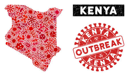 Infected mosaic Kenya map and red rubber stamp seal with OUTBREAK caption. Kenya map collage created with scattered flu elements. Red rounded OUTBREAK seal stamp with grunge texture.