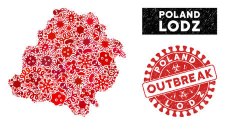 Infected collage Lodz Voivodeship map and red rubber stamp seal with OUTBREAK text. Lodz Voivodeship map collage designed with scattered viral icons. Red round OUTBREAK seal stamp with dirty texture. Illustration