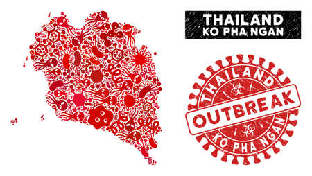 Contagious collage Ko Pha Ngan map and red grunge stamp seal with OUTBREAK badge. Ko Pha Ngan map collage formed with randomized bacteria elements. Red rounded OUTBREAK seal stamp with grunge texture.