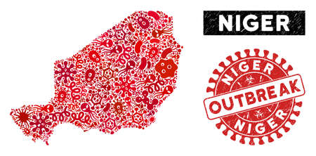 Fever mosaic Niger map and red distressed stamp seal with OUTBREAK phrase. Niger map collage designed with random contagious icons. Red round OUTBREAK seal stamp with scratched texture. Illustration