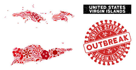 Virus collage American Virgin Islands map and red grunge stamp seal with OUTBREAK message. American Virgin Islands map collage formed with randomized virus symbols.