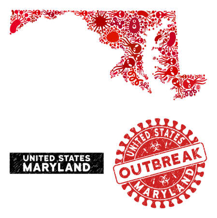 Outbreak collage Maryland State map and red grunge stamp seal with OUTBREAK caption. Maryland State map collage composed with randomized bacterium symbols.