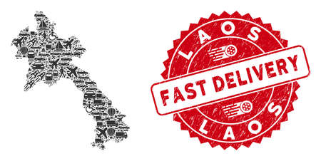 Shipping collage Laos map and corroded stamp seal with FAST DELIVERY badge. Laos map collage composed with grey randomized automobile elements. Red rounded FAST DELIVERY stamp with unclean texture.