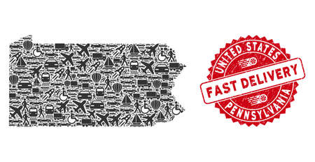 Delivery collage Pennsylvania State map and distressed stamp seal with FAST DELIVERY phrase. Pennsylvania State map collage composed with grey random vehicle elements.  イラスト・ベクター素材