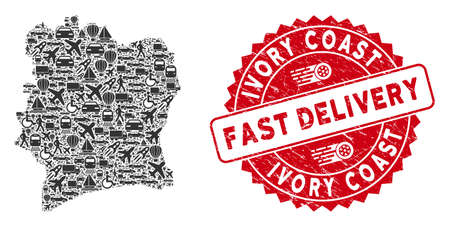 Delivery mosaic Ivory Coast map and grunge stamp watermark with FAST DELIVERY text. Ivory Coast map collage constructed with gray randomized transport symbols.