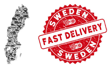 Logistics mosaic Sweden map and grunge stamp seal with FAST DELIVERY words. Sweden map collage formed with gray scattered traffic symbols. Red rounded FAST DELIVERY stamp with grunge texture.