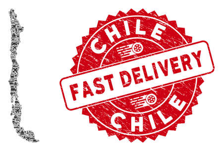 Delivery mosaic Chile map and grunge stamp seal with FAST DELIVERY words. Chile map collage created with grey randomized lorry elements. Red rounded FAST DELIVERY stamp with grunge texture.